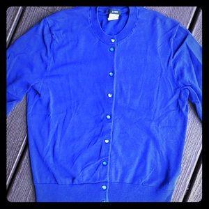J-Crew Royal Blue Cardigan Sweater Size M